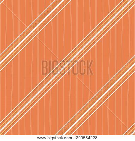 Irregular Orange And White Diagonal Stripes Design. Seamless Vector On Orange Background With Subtle