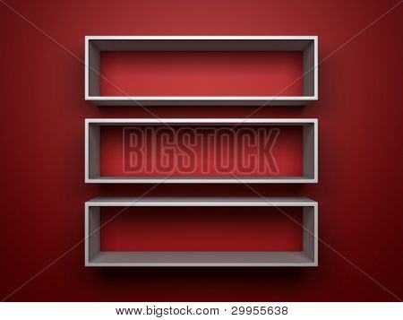 three 3d white shelves on red background