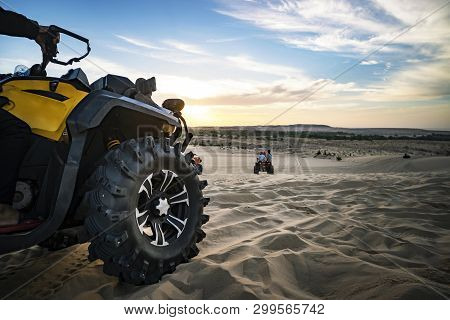 Summer Offroad Adventure On Atv In Sand Quarry. Entertainment Of Tourists In The Desert In Mui Ne In
