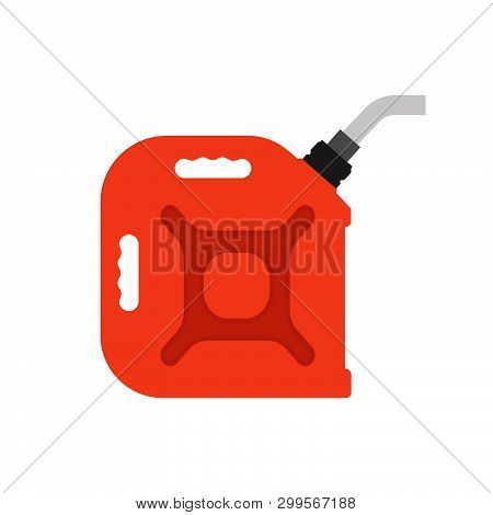 Fuel Can Gas Vector Icon Energy. Gasoline Oil Canister Diesel Industry Petrol Car. Red Cartoon Gallo