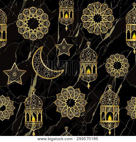 Arabic Golden Lantern, Moon And Stars Seamless Pattern