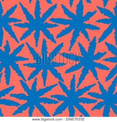 Abstract Coral And Blue Seamless Pattern With Leaves, Stars