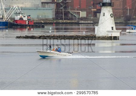 New Bedford, Massachusetts, Usa - May 1, 2019: Powerboat No Excuses With Four Fishermen Passing Palm