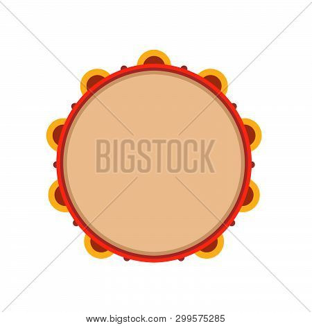 Tambourine Instrument Vector Icon Illustration Music. Isolated Drum Rhythm Percussion. Folk Band Red