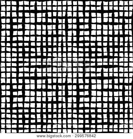 Boho Check Hand Drawn Ink Seamless Pattern