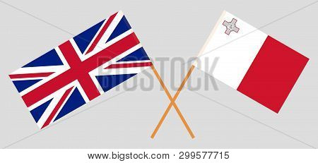 Malta And Uk. The Maltese And British Flags. Official Colors. Correct Proportion. Vector Illustratio
