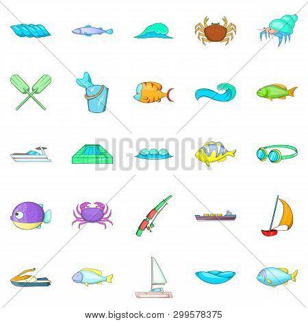 Sopping Icons Set. Cartoon Set Of 25 Sopping Icons For Web Isolated On White Background