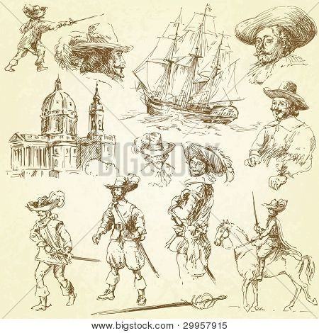 musketeers - hand drawn set