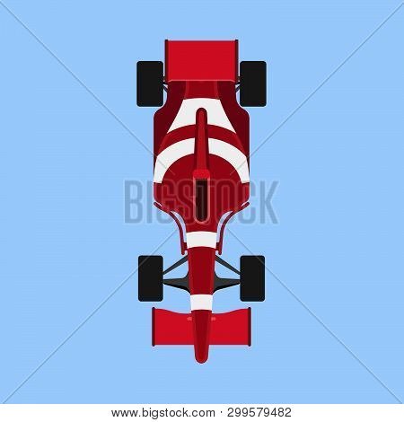 Formula 1 Race Car Sport Vector Icon Top View. Speed Auto F1 Champion Red Vehicle. Bolide Rally Prix