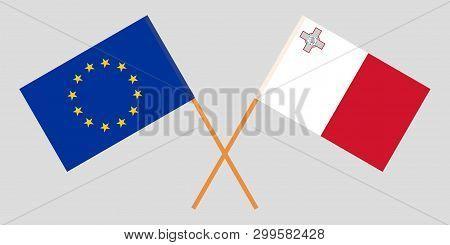 Malta And Eu. The Maltese And European Flags. Official Colors. Correct Proportion. Vector Illustrati