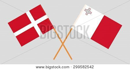 Malta And Denmark. The Maltese And Danish Flags. Official Colors. Correct Proportion. Vector Illustr