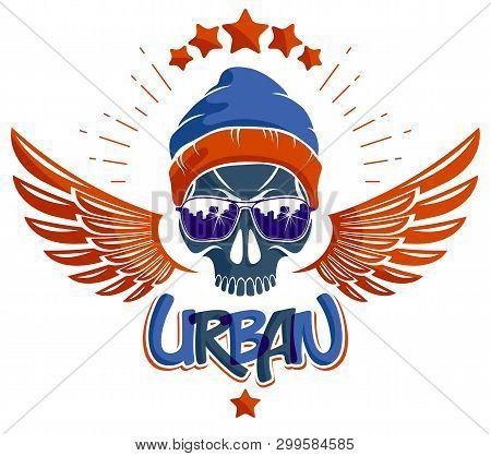 Urban Culture Style Skull Vector Logo Or Emblem, Gangster Or Thug Illustration, Anarchy Chaos Hoolig