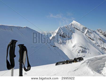 Mountains Snowboard End Skisticks