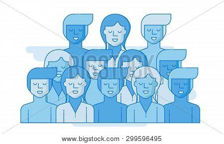 Large Group Of People. Business People, Teamwork Concept. Flat Vector Illustration