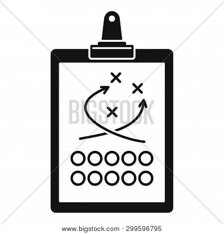 American Football Tactical Clipboard Icon. Simple Illustration Of American Football Tactical Clipboa