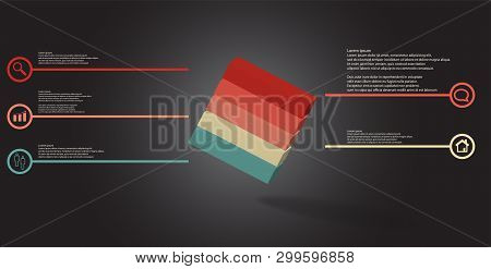 3D Illustration Infographic Template With Embossed Cube Askew Arranged Divided To Five Parts