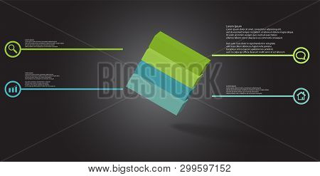 3D Illustration Infographic Template With Embossed Cube Askew Arranged Divided To Four Parts