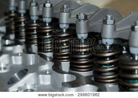 Close Up Automobile Valve System Of Car Engine Maintenance And Service Concept Engine Room Of Car