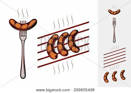 Grilled Sausages On Fork And On Grill Grate With Smoke. Traditional Bavarian Beer Snack In Restauran