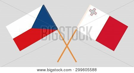 Malta And Czech Republic. The Maltese And Czech Flags. Official Colors. Correct Proportion. Vector I