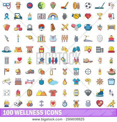 100 Wellness Icons Set. Cartoon Illustration Of 100 Wellness Icons Isolated On White Background