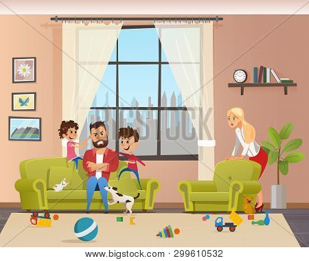 Angry Young Father Look After Naughty Children. Man Character With Clenched Teeth Sitting On Sofa. K