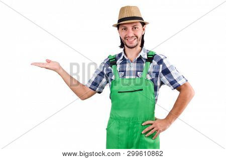 Young farmer isolated on white background
