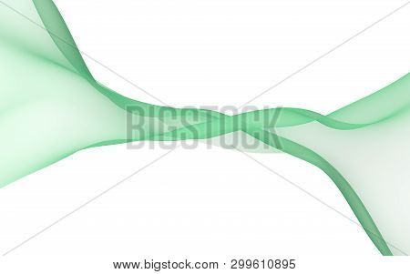 Green Color Scarf. Abstract Green Wave. Bright Green Ribbon On White Background. Abstract Green Colo