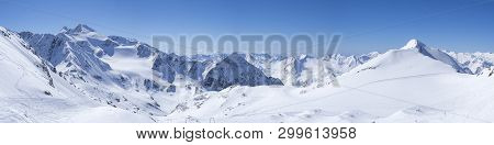 Panoramic Landscape View From Top Of Schaufelspitze On Winter Landscape With Snow Covered Mountain S