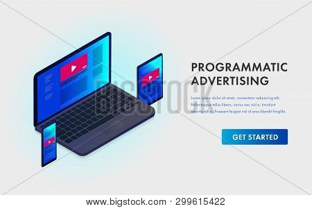 Programmatic Advertising And Native Targeting Marketing Isometric Template Landing Page - Cross-devi