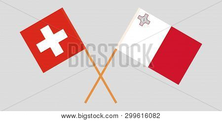 Malta And Switzerland. The Maltese And Swiss Flags. Official Colors. Correct Proportion. Vector Illu