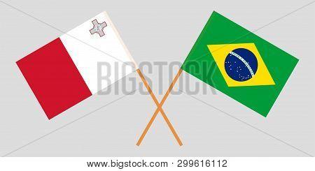 Malta And Brazil. The Maltese And Brazilian Flags
