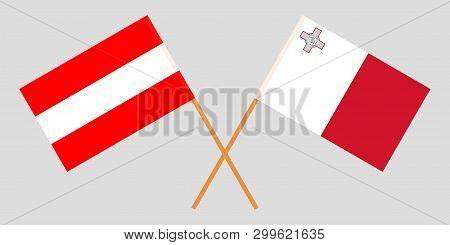 Malta And Austria. The Maltese And Austrian Flags. Official Colors. Correct Proportion. Vector Illus