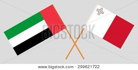 Malta And United Arab Emirates. The Maltese And Uae Flags. Official Colors. Correct Proportion. Vect