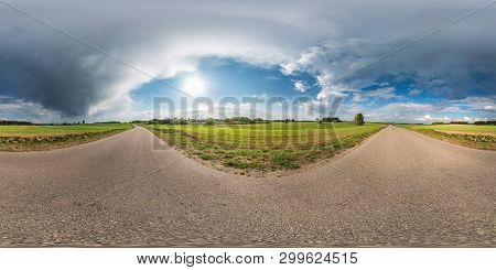 Full Spherical Seamless Panorama 360 Degrees Angle View On No Traffic Asphalt Road Among Alley And F