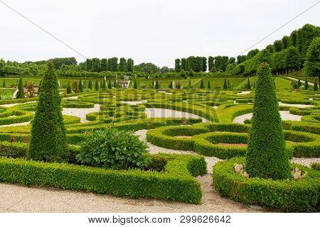 Hillerod, Denmark - June, 2016: Baroque Garden At Frederiksborg Castle In Hellerod, Denmark. View Of
