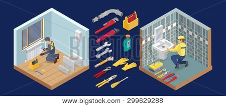 Plumber Is Installing Washbasin. Heating Service. Isometric Icon. Vector.