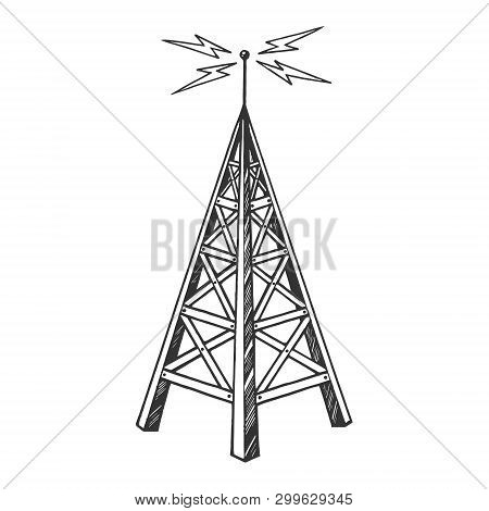 Old Vintage Radio Tower Broadcast Transmitter Sketch Engraving Vector Illustration. Scratch Board St