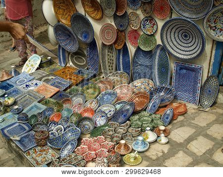 Traditional Plates On A Sidi Bou Said Street In Tunisia