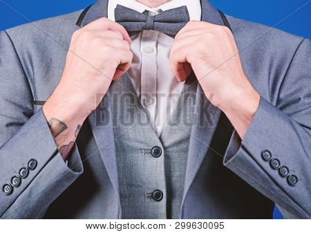 Man Adjust Suit With Bow Tie. Formal Suit Jacket Close Up. Male Fashion And Aesthetic. Businessman F