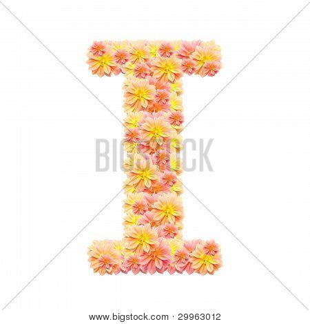 I,flower Alphabet Isolated On White