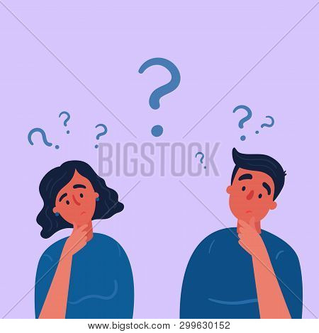 Couple Of Man And Woman Having A Question. Male And Female Characters Standing In Thoughtful Pose Ho