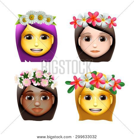Characters Girls Avatars With Flower On Head In Cartoon Style, Emoji Icons, Animoji, Summer Concept,