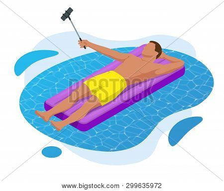 Inflatable Ring And Mattress. Young Man On Air Mattress In The Big Swimming Pool. Summer Holiday Idy