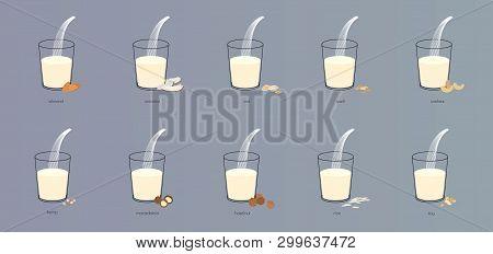 Vector Vegan Alternative Organic Milk Splash In Glass Set. Non Dairy Drink From Nut, Bean, Coconut,