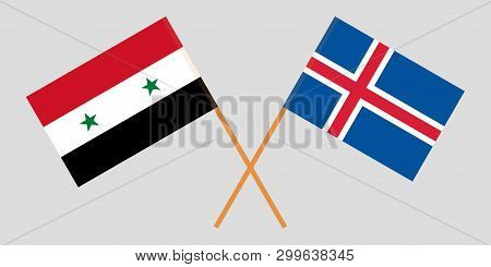 Iceland And Syria. The Icelandic And Syrian Flags. Official Colors. Correct Proportion. Vector Illus
