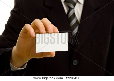 Businessman Holding Blank Business Card