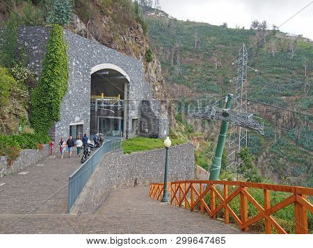 Funchal, Madeira, Portugal - 17 March 2019: People Outside The Botanical Gardens Cable Car Terminus