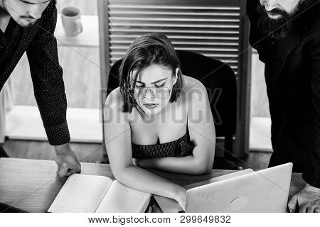 Sexual attraction. Stimulate sexual desire. Sexy girl big boobs working in mostly male workplace. Desirable sexy lady boss. Woman sexy attractive female working with men colleagues. Busty colleague poster