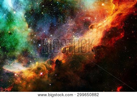 Stars, Galaxies And Nebulas In Awesome Cosmic Image. Elements Of This Image Furnished By Nasa